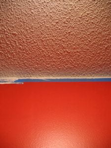 Popcorn ceiling with bright walls