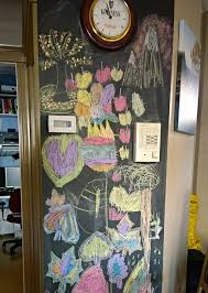 A wall that has been painted with chalkboard paint.